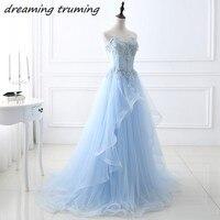 Light Blue Prom Dresses Long With Lace Applique Beading Women Elegant Sweetheart Evening Gown Vestido De