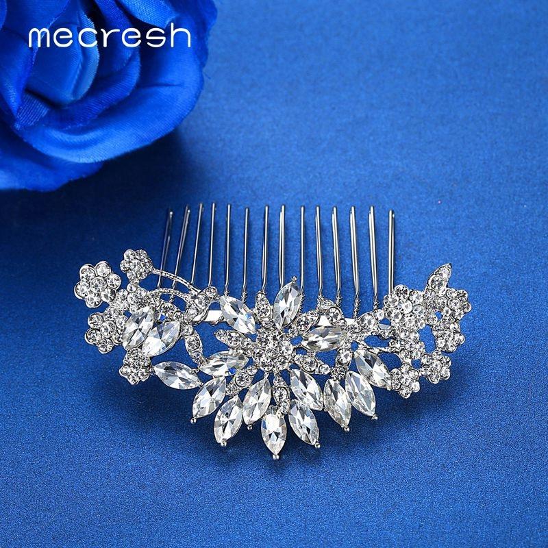 Mecresh Silver Color Rhinestone Flower Leaf Bridal Hair Comb for Girls Crystal Hair Ornaments Jewelry Wedding Hair Accessories 5
