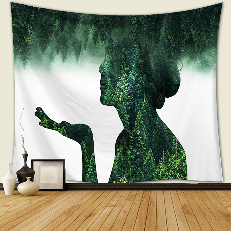 Beautiful Natural Forest Printed Wall Tapestry Hanging Bohemian Tapestries Character landscape tapestry Decoration