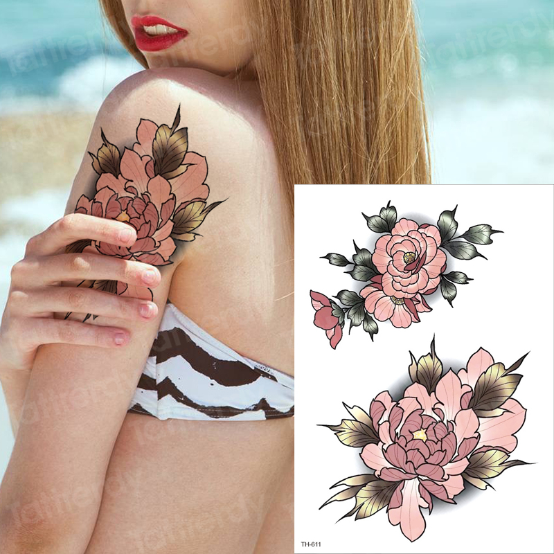 Temporary Tattoo Flower Water Transfer Tattoo For Women Girl Sleeve Tattoo Fake Waterproof Peony Rose Stickers Body Tattoo Lotus
