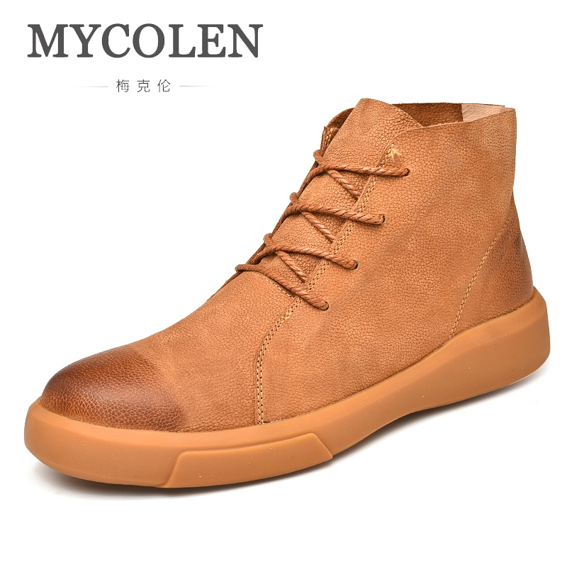 MYCOLEN 2019 High Top Quality Men Boots Luxury Fashion Lace Up Male Shoes Ankle Motorcycle Boots Men Bota Masculina CouroMYCOLEN 2019 High Top Quality Men Boots Luxury Fashion Lace Up Male Shoes Ankle Motorcycle Boots Men Bota Masculina Couro