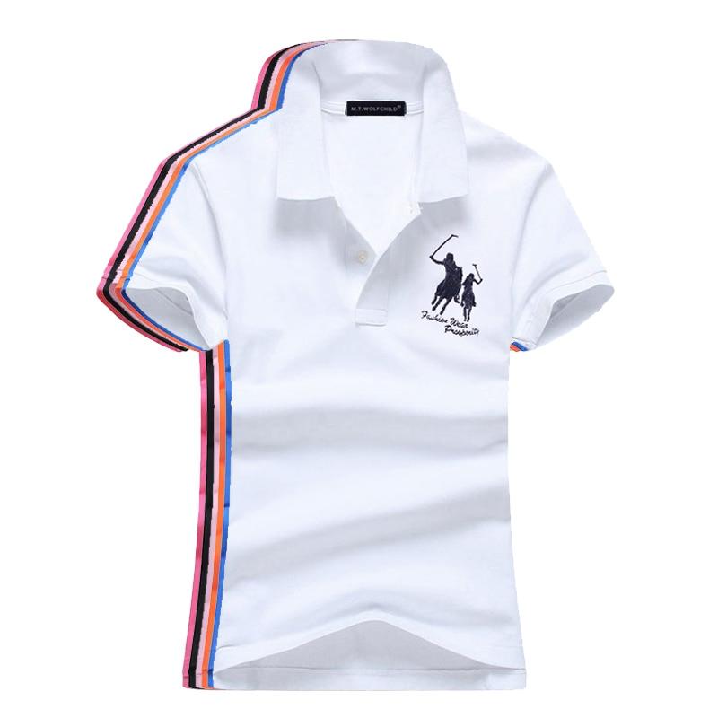 High Quality 2018 Summer New Womens  Short Sleeve Polos Shirts Casual Womens Lapel Polos Shirts Cotton Fashion Womens Slim Tops
