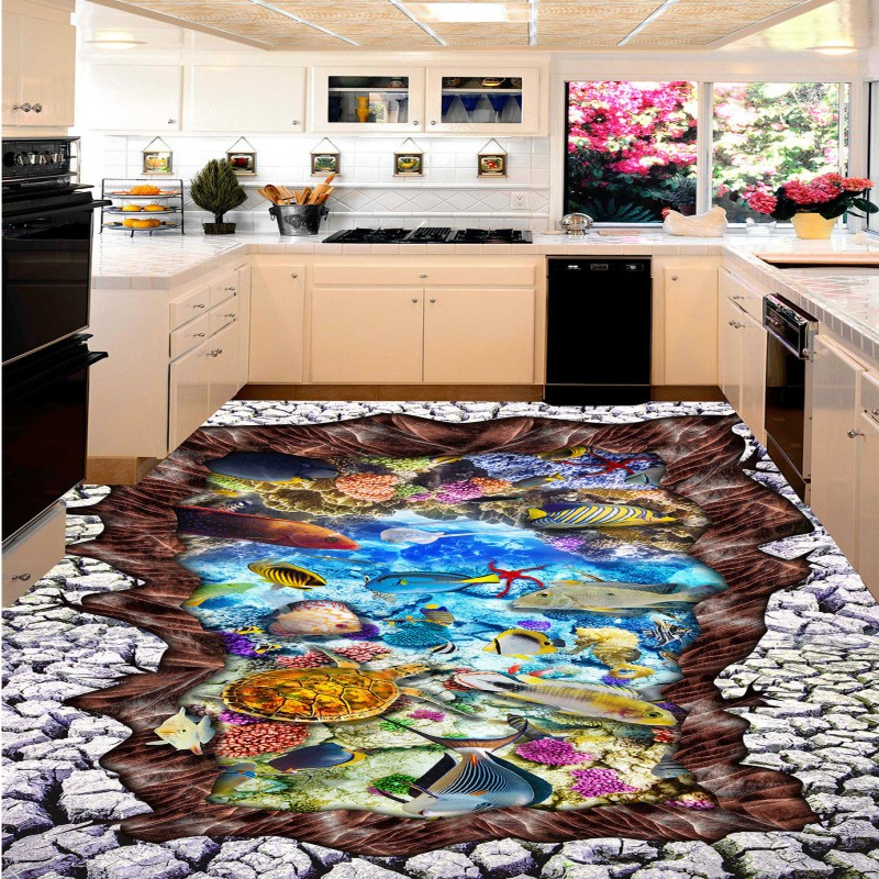 Free shipping thickened wallpaper roll floor mural living room bedroom home decoration 3D Stereo Sea World Dolphin Flooring free shipping marble texture parquet flooring 3d floor home decoration self adhesive mural baby room bedroom wallpaper mural