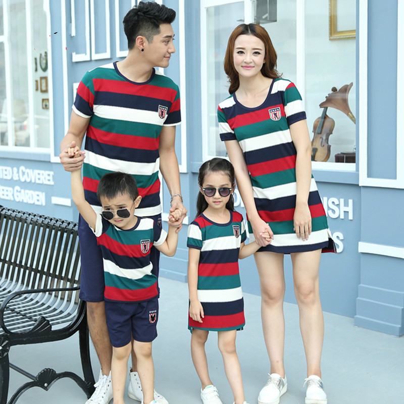 Family fashion summer mother and son 2017 family pack set clothes for mother and daughter beach one-piece dress family set  summer casual bodycon dresses