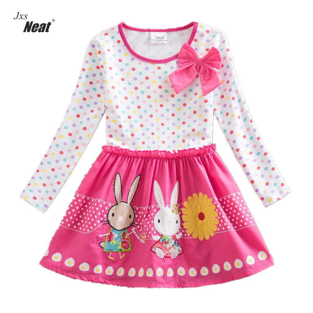 Vestido de manga larga para niña Vestidos de primavera y otoño Vestidos para niñas vestidos Patrón de conejo bordado Vestidos para niñas de niños LH4829