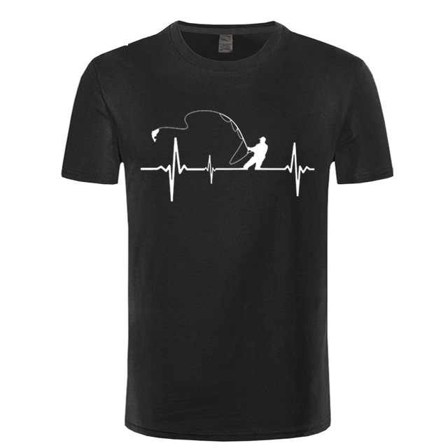 Birthday Gifts For Dad Him Father Fishinger Heartbeat Funny T Shirt Fish Accessories Present T-Shirt Men Fisherman Streetwear