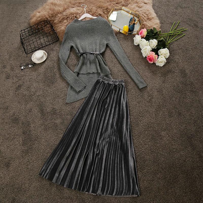 2018 winter new women semi high collar long sleeve irregular knit sweater + velvet pleated skirt suit female two piece sets