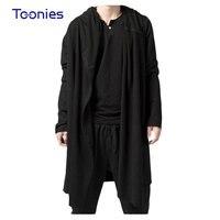Autumn Winter 2016 Hip Hop Long Hoodies Men Sweatshirts Streetwear Fashion Design Hooded Hoodie Black Cloak