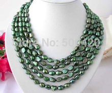 choker Women Gift word Love Jewelry Shipping >>>Long 100″baroque green FW pearl necklace AAALong anime