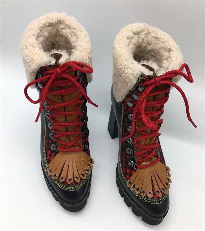 Ystergal Nouvelles Chaud Caoutchouc Chunky Chaussures Fourrure Noir Talons Cm En Hiver Lacets Hauts Bottines Plateforme Botte multi 12 Femme Femmes 2019 À prw4x5vqp