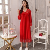 Autumn Modal Nightgowns For Women Sexy V Neck Nightdress Modal And Lace Sleepwear Red and White Colors 8027