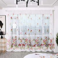 2 шт., занавески с цветочным принтом пиона, тюлевые занавески для обработки окон, драпировка, балдахин, простая модель штор 100x200 см L703