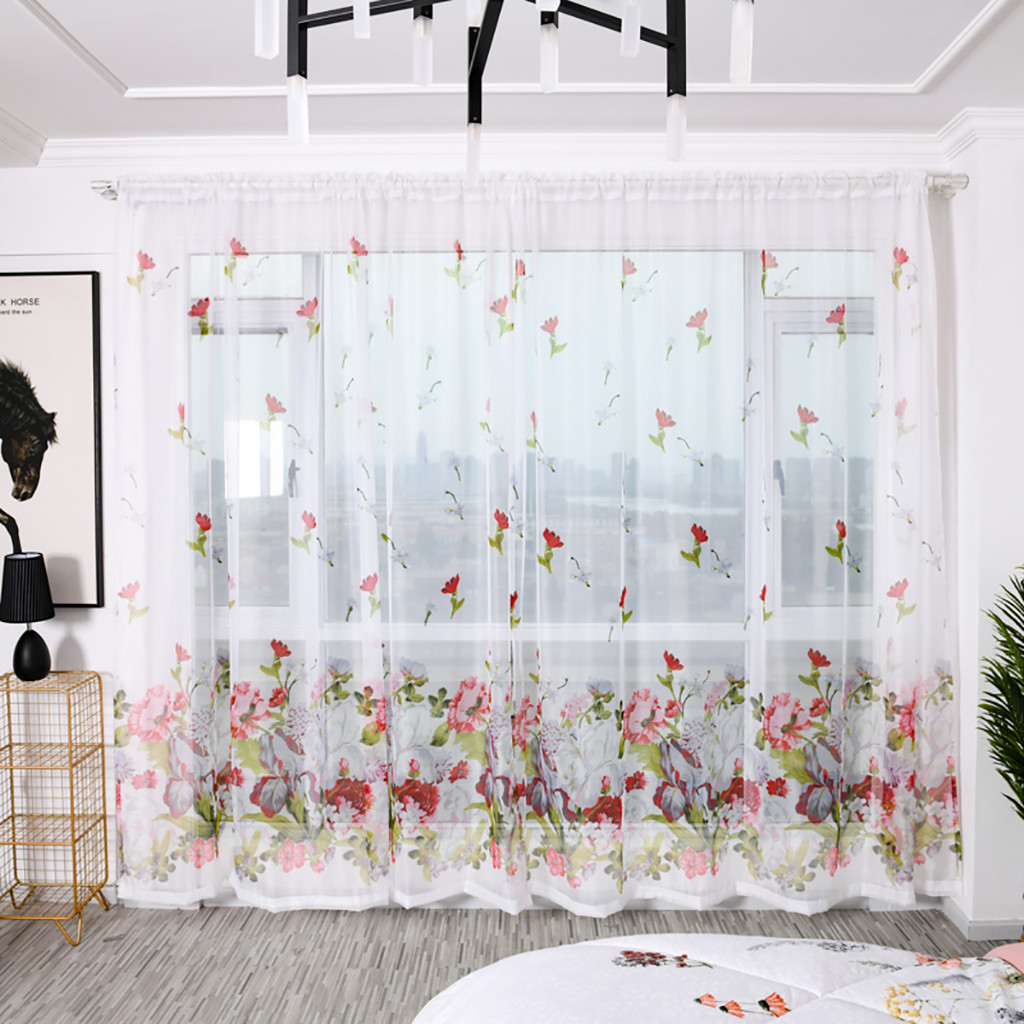 2pcs Peony Flower Print Curtain Tulle Window Treatment Drape Valance Simple Curtain Wear Rod Model 100x200cm L703