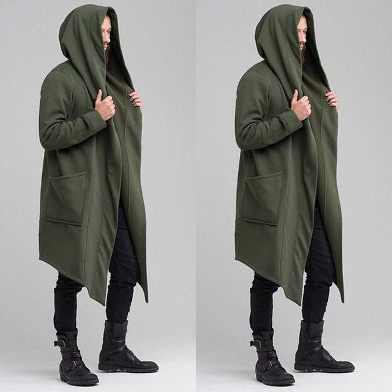 Mens Goth Gothic Punk Hoodies Jacket Long Cardigan Ninja Coat Cloak Outwear Tops