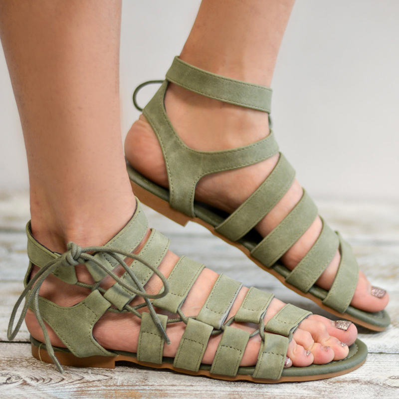 2018 Summer Women Sandals Gladiator Women Shoes Roman Sandals Shoes Peep-toe Flat Sandals Casual Mujer Sandalias Size 34-43 instantarts women flats emoji face smile pattern summer air mesh beach flat shoes for youth girls mujer casual light sneakers