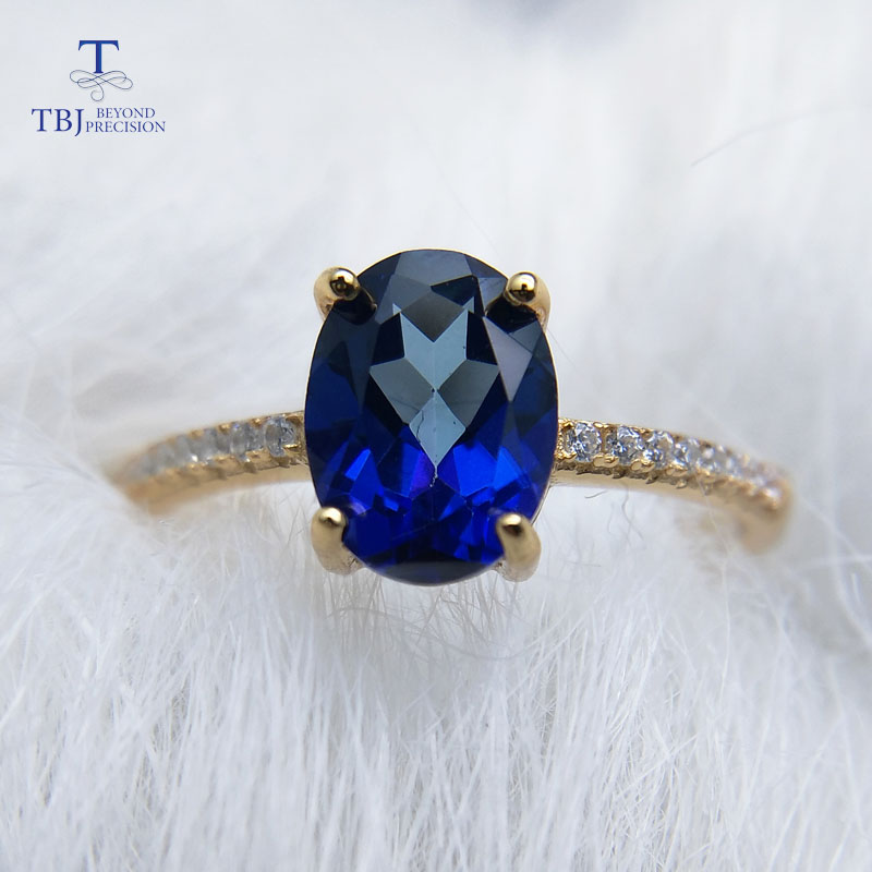 Efficient Tbj,simple Design Ring With 1.2ct Natural Coated Blue Topaz In 925 Sterling Silver Yellow Gold Color Ring For Women As A Gift Suitable For Men And Children Women