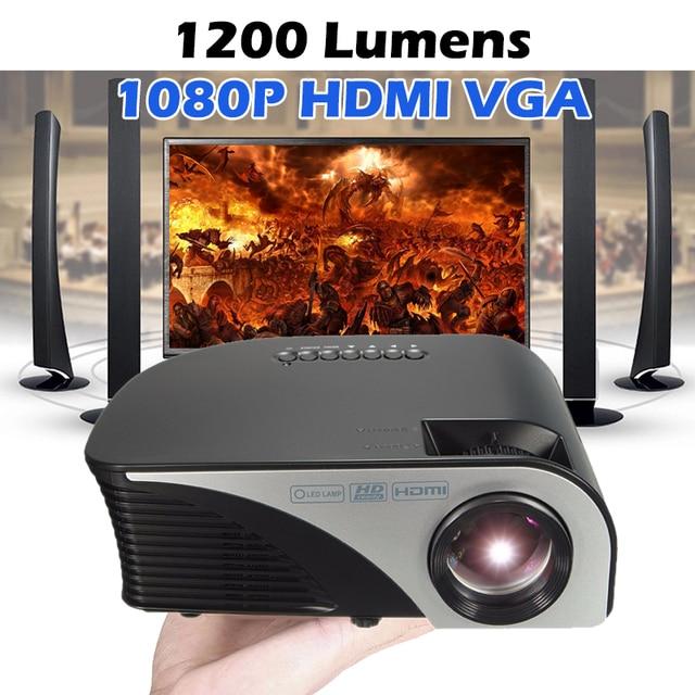 Cheap Portable LED Projector 1080P 1200 Lumens Mini Multimedia Home Theater Projector Max 120'' Screen AV/VG