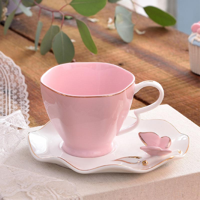 OUSSIRRO Exquisite Butterfly Bird Top Bone China 220ml Coffee Cup Saucer Free Spoon Ceramic Teacup European Porcelain Tea Cup