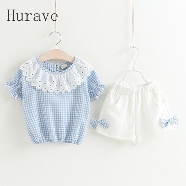 f1f59d101050 Hurave fashion girls clothing sets casual children plaid shirts + ...