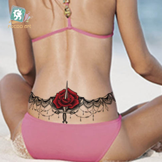 BC-002 24X13.8cm Body Wreath Sexy Tatuagem Taty Body Art Temporary Tattoo Black Lace Rose Waist Circle Tatoo Sticker