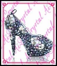 Aidocrystal 2016 Neue Ankunft Leuchtenden Kristall High Heels Schuhe Luxus Mode Königin Stil Strass Sexy Schuhe