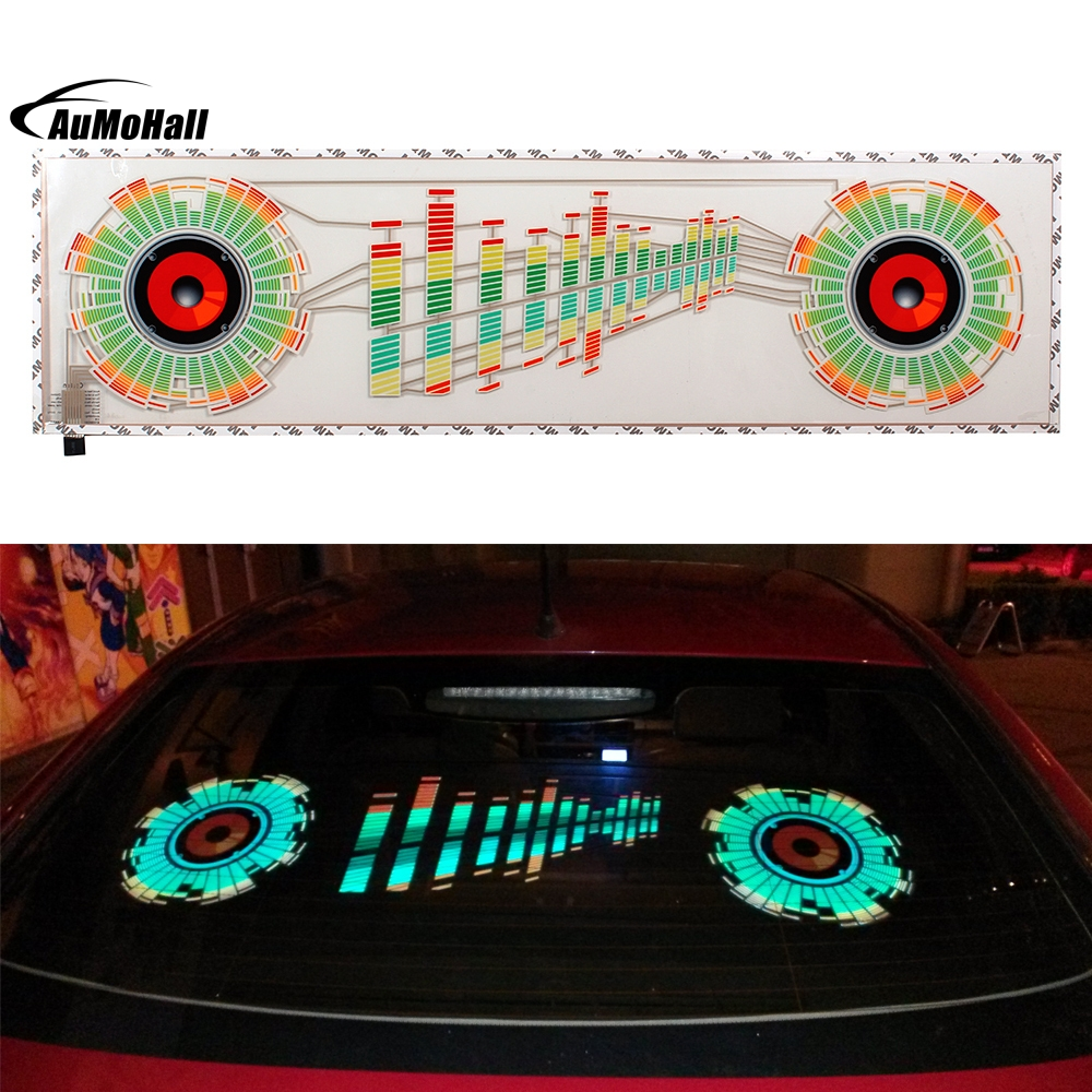 Thin Sheet with Adhesive Tape Colorful Car Sticker Music Rhythm LED Flash Lamp Sound Activated light Led Lights car sound control sensor music rhythm electro luminescent sheet light lamp 90 x 10cm