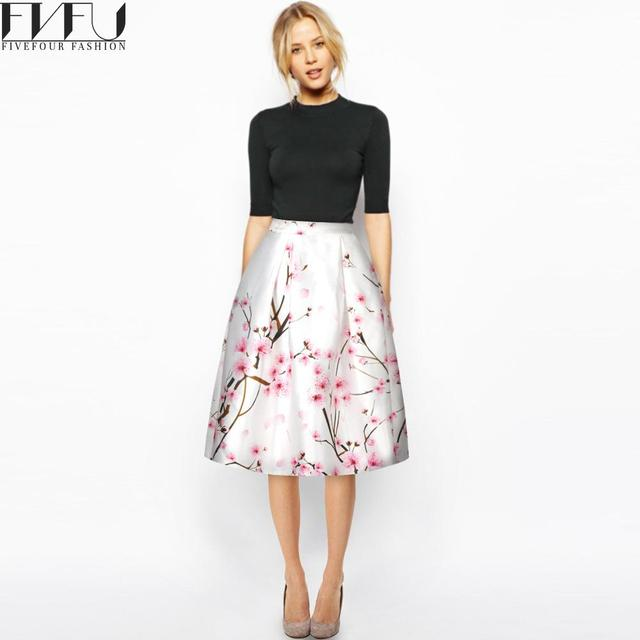 b6c18911ea Nueva moda 2018 Primavera Verano vestido de bola Faldas Mujer Retro flor  imprimir falda alta cintura