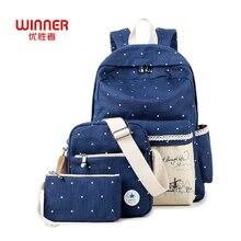Победитель Модные женские туфли Рюкзак корейской Холст 3 шт./компл. рюкзаки женские для подростков девочек Mochila отдыха и путешествий милые школьные сумки