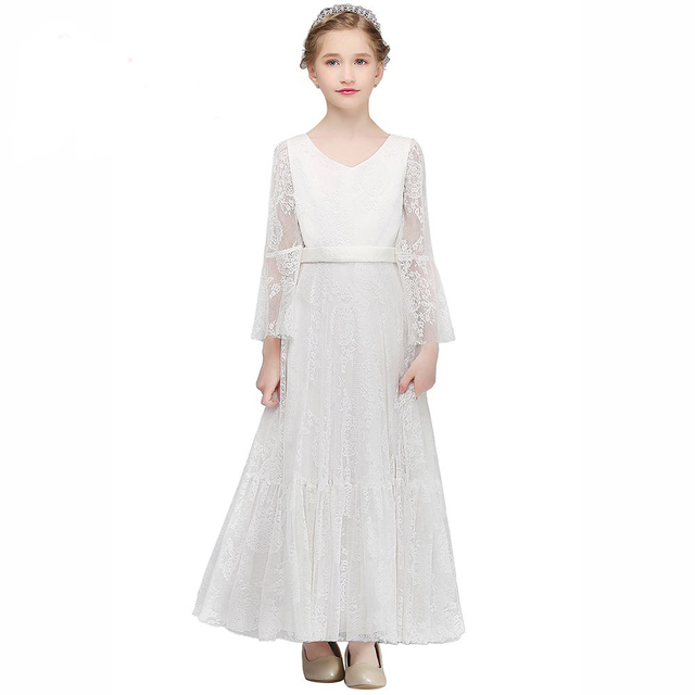 Lange Kommunion Kleider Blumenmädchenkleider A Line Kinder Hochzeit ...
