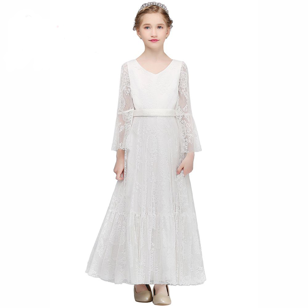 Long Communion Dresses Flower Girl Dresses A-Line Kids Wedding Pageant Party Gowns White Lace Mother Daughter Dresses For Girls