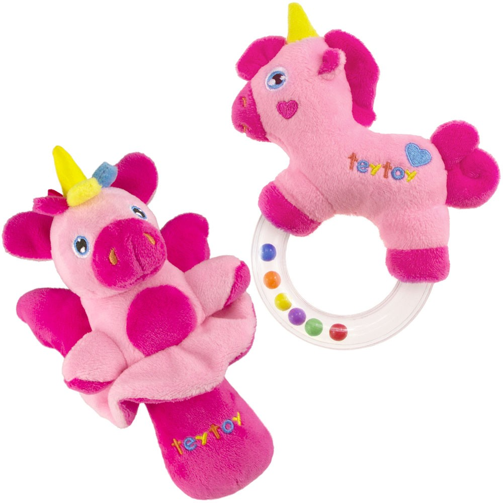 2pcs Soft Baby Rattles Set Pink Horse and Angel Pig for teytoy My First Rattle
