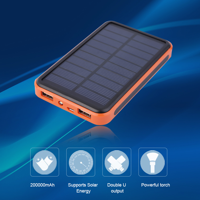 imágenes para Banco de la energía 10000 mAh Portátil A Prueba de agua Solar PowerBank USB Cargador Solar Externo A La Batería para el iphone 6 para Samsung para xiaomi