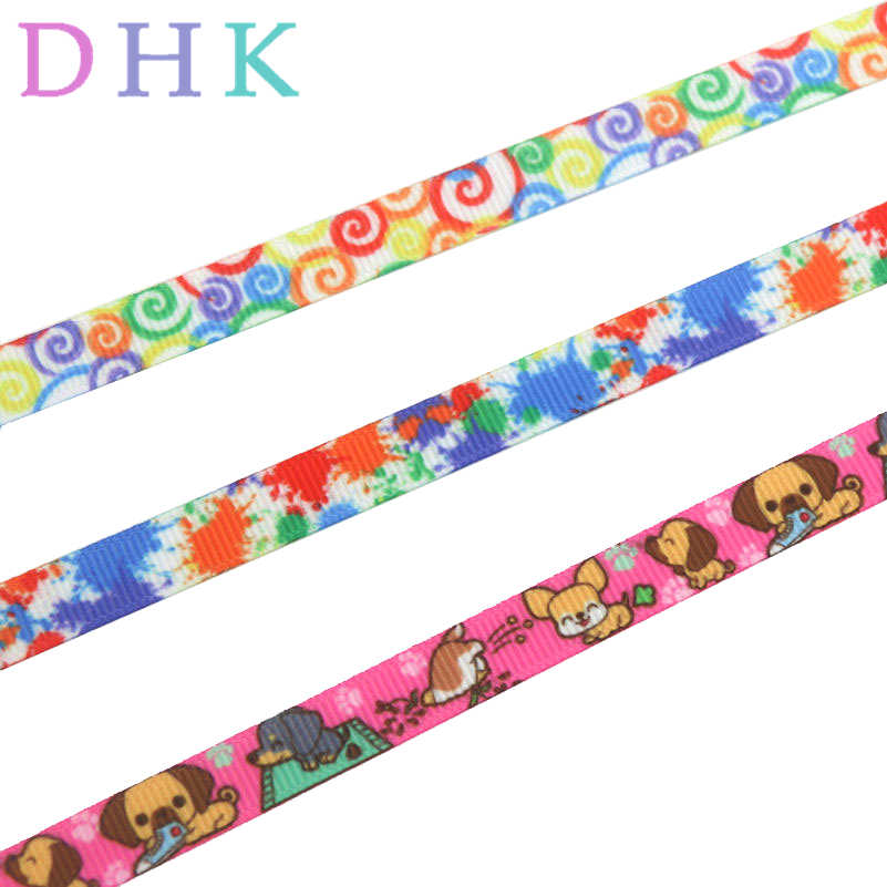 "DHK 3/8 ''10 מטרים כלב צבע מערבולת מודפס אבזר hairbow בארה 'ב DIY קישוט 9 מ""מ OEM B1696"