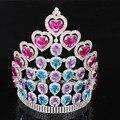 Hot projetos Europeus Grandes acessórios para cabelo Nupcial da tiara da coroa Rodada Círculo Completo Mulheres Azul Rosa de Cristal Do Casamento da Coroa Do Partido