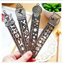 Creative metal straight ruler bookmark Hollow Ultra-thin rulers Korea stationery office