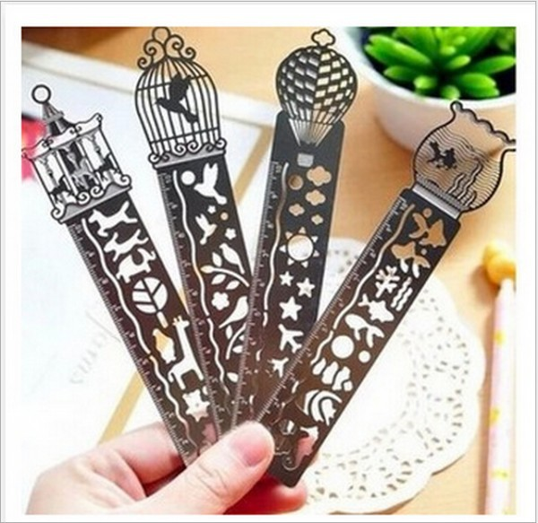 Creative metal straight ruler bookmark Hollow Ultra-thin rulers Korea stationery office school supplie