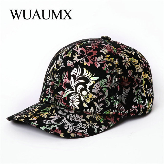 Wuaumx Autumn Winter Genuine Leather Baseball Caps For Women Fashion Print Sheepskin Leather Warm Snapback Hat For Female Girls