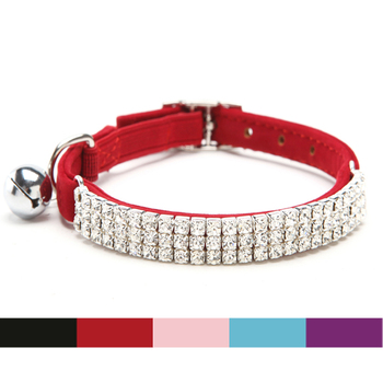Free shipping Collar Cat Baby Puppies Dog Safety Elastic Adjustable with Diamante Rhinestone bell Soft velvet material S 1