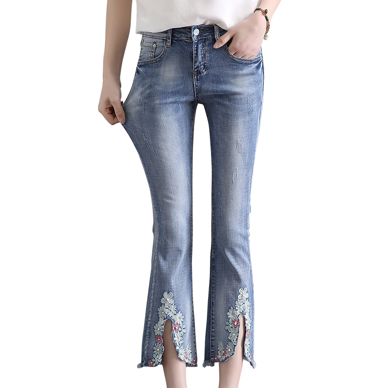 New quality women jeans with embroidery skinny high