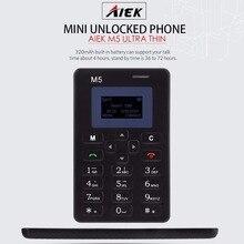 AIEK M5 GSM 2 г карты мобильного телефона 4.5 мм ультра тонкий pocket mini slim карты телефон 1.0 дюймов LED дисплей QWERTY клавиатура дочерним телефоном