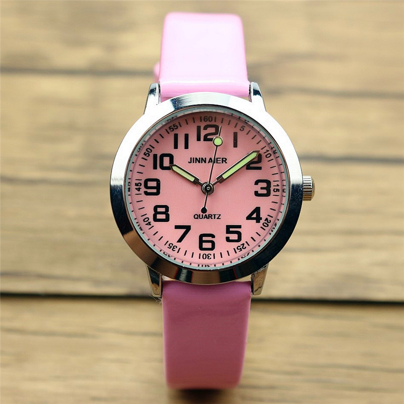 Nazeyt lovely luminous 7 colors dial leather watch for kids