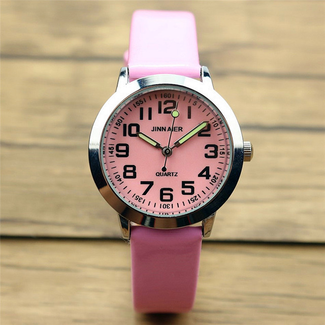 Nazeyt children lovely 7 colors dial leather watch little boys and girls luminou