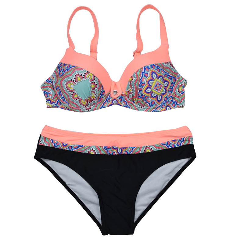 Sexy Print Swimwear Women Bikini Set 2019 New Push Up biquini Female Swimsuit Brazilian Bathing Suit bathers Beach Swimming in Bikinis Set from Sports Entertainment