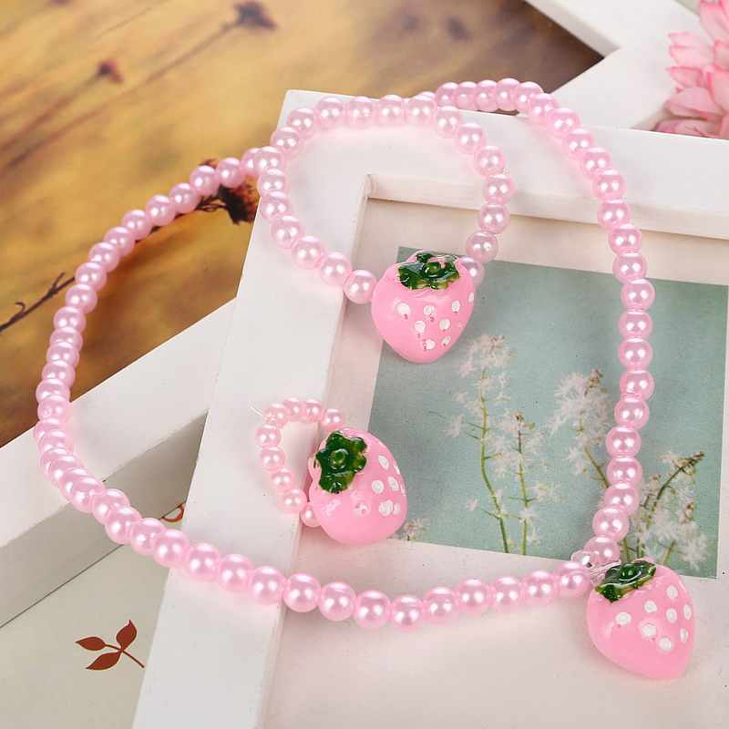 Pink Bright Imitation Pearl Beads Jewelry Sets Resin Strawberry Short Necklace Bracelet Ring 3pcs/lot Best Gift For Kid