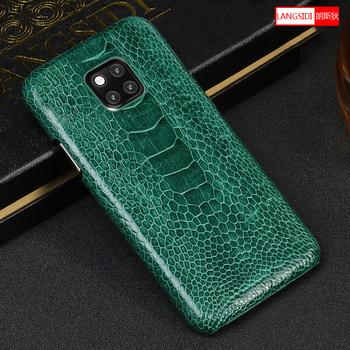 100% ostrich Genuine Leather case for Huawei mate 20 P30 P20 Lite pro Luxury 360 protective phone case For honor 8x v20 20 Pro leather