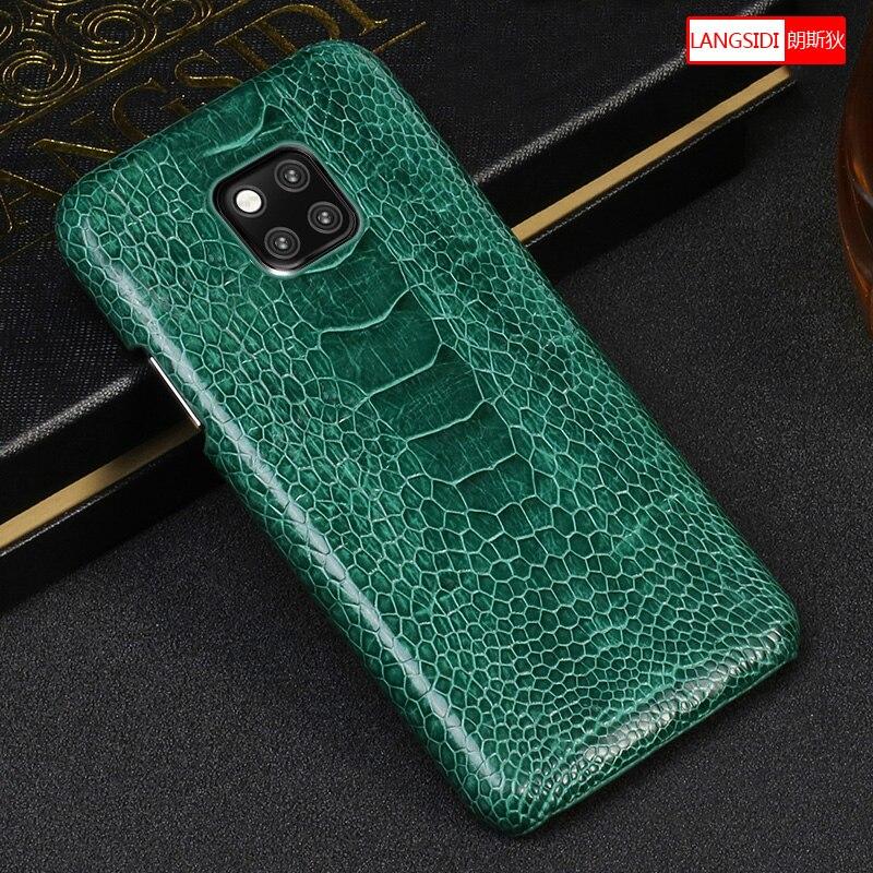 100% Véritable autruche En Cuir étui de protection pour Huawei compagnon 20 10 pro compagnon 9 pro Honneur 9 Lite luxueux Haut de gamme coque de téléphone