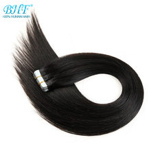 "BHF Tape in human hair extensions 14"" to 22"" Tape in straight Machine Made Remy On Adhesive Invisible PU Weft Extension(China)"