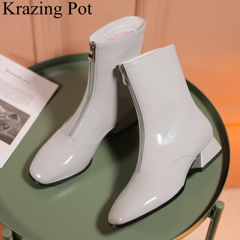 Krazing Pot 2018 superstar square toe low heels zipper women ankle boots office lady solid keep warm concise winter shoes L3f1