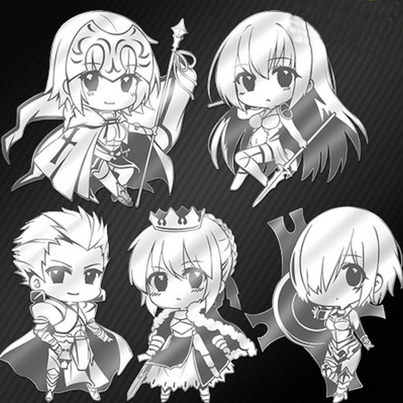 5pcs Anime FGO Fate Grand Order Metal Decal Stickers for Mobile Phone Laptop Sticker DIY Scrapbook