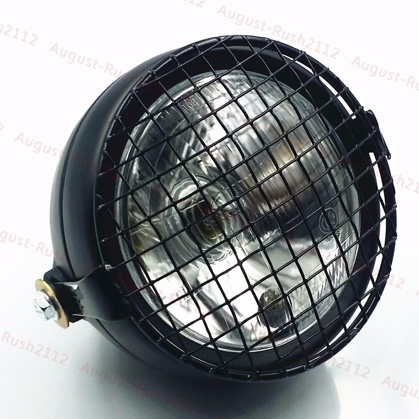 Motorcycle Grill Retro Vintage Side Mount Headlight For Honda Triumph CB Cafe GN